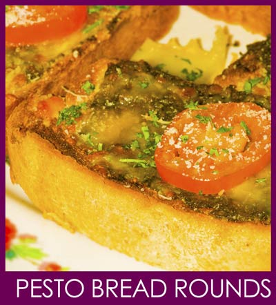 pesto bread rounds